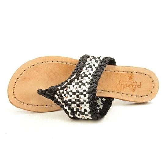 Plenty by Tracy Reese Leather Black Wite Silver Woven Sandals