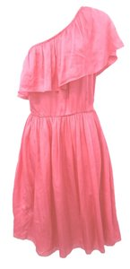 Luca Luca short dress CORAL Italy One Shoulder Silk on Tradesy