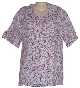 White Stag Stag Linen Button Front Short Sleeve Size 20 New With Tags Shirt Button Down Shirt White