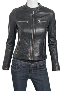 Andrew Marc Dark Grey/Anthracite Leather Jacket