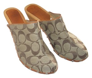 Coach Silver Hardware Canvas Brown Mules