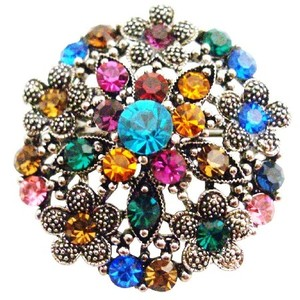 Fashion Jewelry For Everyone Antique Round W/h Multicolor Black Silver Round Flower Bouquet Brooch