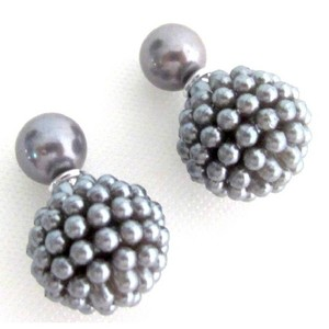 Fashion Jewelry For Everyone Gray Pearl Double Sided Bridesmaid Earrings