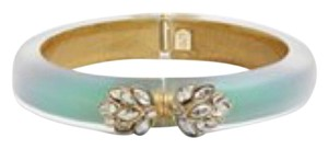 Alexis Bittar Akexis Bittar Turquoise Irridecent Lucite And Crystal Small Hinged Bracelet New With Tags