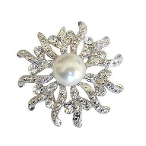 Fashion Jewelry For Everyone Sparkling Beautiful Round Brooch Cubic Zircon & Pearls Victorian Pin
