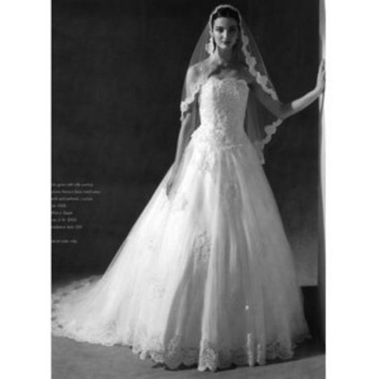 Oleg Cassini White Lace Style 5438 (White) - Vintage Wedding Dress Size 8 (M)