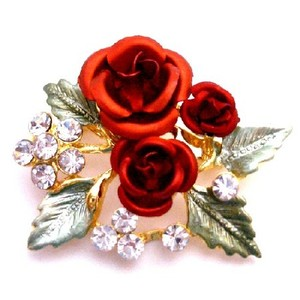 Fashion Jewelry For Everyone Red Gift Rose Bouquet Birthday Christmas Holiday Gifts Expressive Gift Brooch/Pin