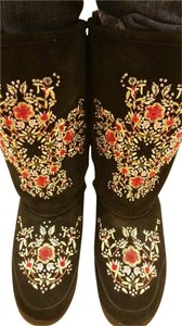 Nordstrom Suede Oscar Embroidered Black Boots