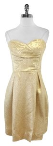 Shoshanna short dress Gold Metallic Strapless Strapless on Tradesy