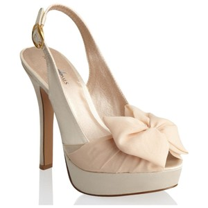 Allure Bridals Nude Sunrise Peep Toe Sling Back with Chiffon Sash and Bow Sandals Size US 8