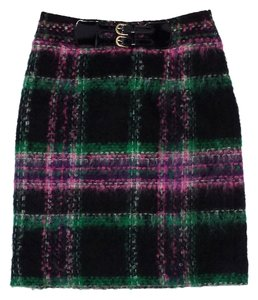 MILLY Multi Color Mohair Wool Plaid Mini Skirt Black, Green, Pink