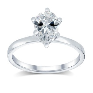 1.12 Ct E/vs1 Pear Diamond Solitaire Engagement Ring 14 K White Gold