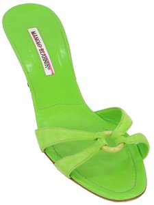 Manolo Blahnik Mule Suede Green Sandals