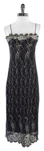 Robert Rodriguez Black Silver Lace Spaghetti Dress