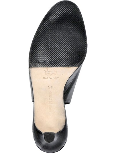 Manolo Blahnik Slingback Peep Toe Black Sandals
