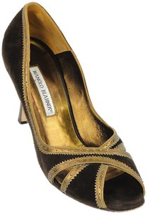 Manolo Blahnik Perforated Gold Peep Toe Brown, Gold Pumps