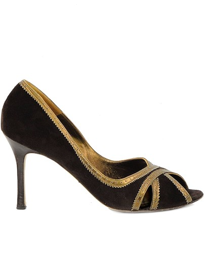 Manolo Blahnik Perforated Peep Toe Brown, Gold Pumps