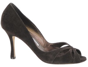 Manolo Blahnik Peep Toe Cut-out Suede Brown Pumps