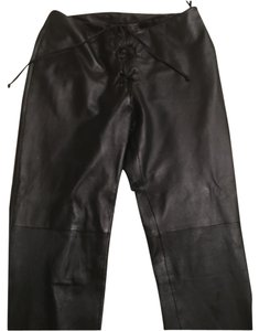 Moda International Leather Boot Cut Boot Cut Pants Black