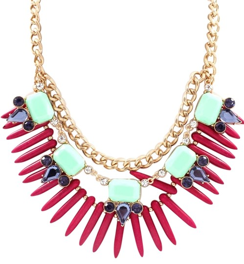 Unknown Magenta and Mint Spike Crystal Necklace