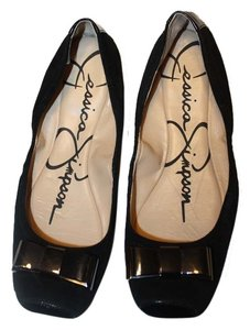 Jessica Simpson Metallic Hardware Suede black Flats