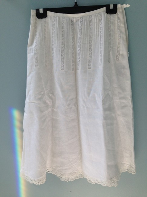 Ralph Lauren Linen Black Label Skirt White