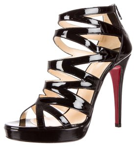 Christian Louboutin Patent Patent Leather Fernando Cage Caged Strappy Ankle Ankle Strap Platform Hidden Platform Embellished Peep Toe Pump Black Sandals