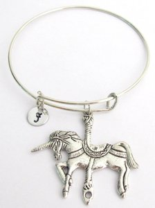 Fashion Jewelry For Everyone Silver Unicorn Bangle Unicorn Expandable Bangle Personalized Bracelet