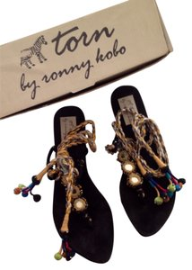 Torn by Ronny Kobo Lace Up Ankle Ties Gypsy Black/Multi Sandals