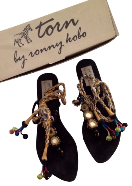 Item - Black/Multi Lace Up Gypsy Sandals Size US 8 Regular (M, B)