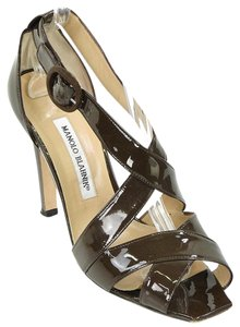 Manolo Blahnik Strappy Peep Toe Brown Sandals