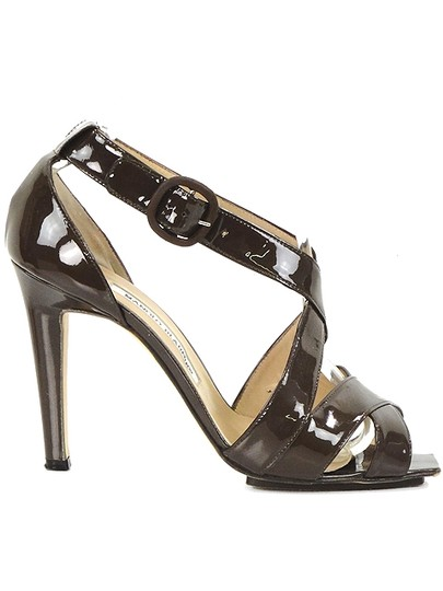 Manolo Blahnik Strappy Peep Toe Patent Leather Brown Sandals Image 1