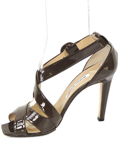 Manolo Blahnik Strappy Peep Toe Patent Leather Brown Sandals