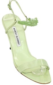 Manolo Blahnik Strappy Beaded Sandal Green Sandals
