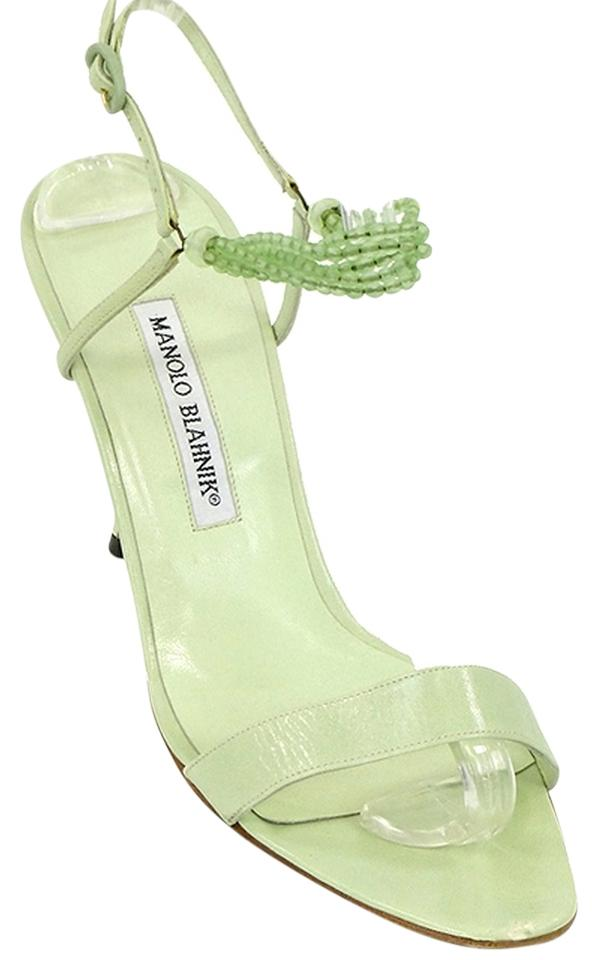 6f95be0d0868 ... Manolo Blahnik Strappy Beaded Green Sandals ... Climatida Leaf  Embroidered ...