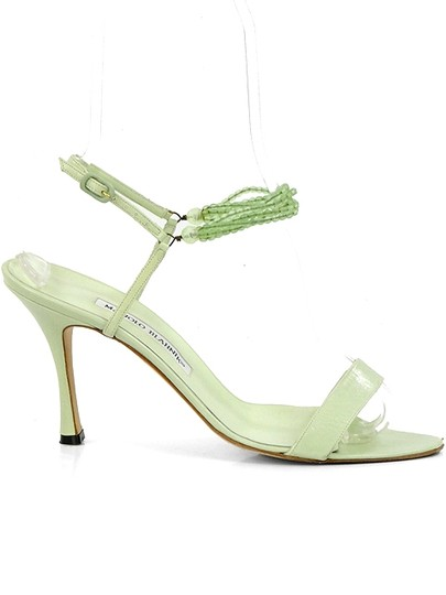 Manolo Blahnik Strappy Beaded Green Sandals
