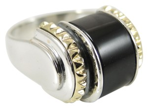 Lagos Lagos Sterling Silver 18K Yellow Gold Onyx Caviar Sugarloaf Dome Ring - Retail $495