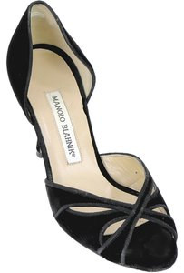 Manolo Blahnik Velvet Peep Toe Black Pumps