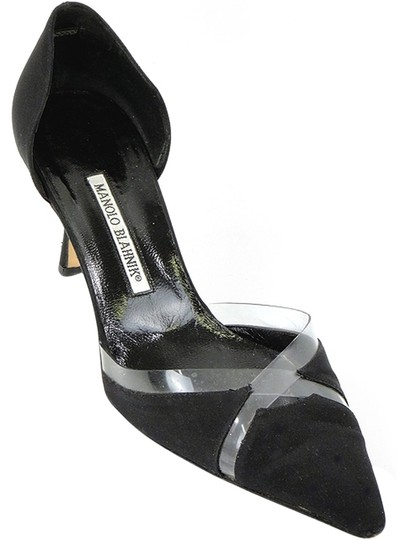 Manolo Blahnik Pointed Toe Geometric Plastic Black Pumps