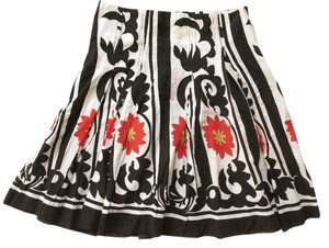 Toi et Moi Anthropologie B&w S Cotton Modern Floral Print Skirt