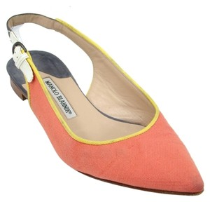 Manolo Blahnik Suede Pointed Toe Canvas Slingback Salmon/Yellow/Grey Flats