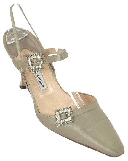 Manolo Blahnik Pointed Toe Slingback Ankle Strap Pump Crystal Diamond Taupe, Champagne, gray Formal