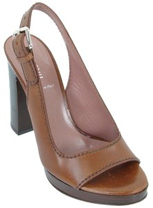 Miu Miu Slingback Peep Toe Brown Platforms