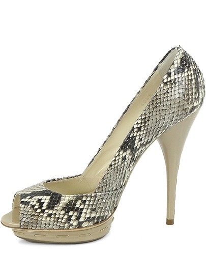 Miu Miu Python Snakeskin Peep Toe Patent Leather Black, White, Beige, Ivory Pumps