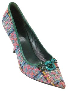 Miu Miu Tweed Pointed Toe Pump Kitten Pink, Green, Blue, Purple Pumps