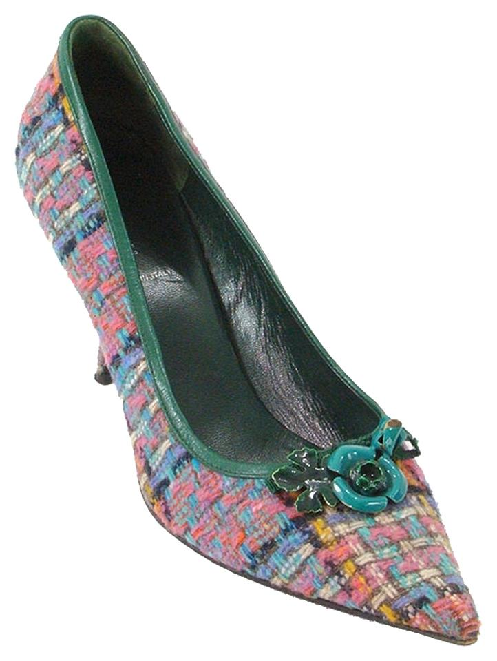 Miu Purple Miu Pink Green Blue Purple Miu - Multi-color Tweed with Trim Pumps a9cfc3