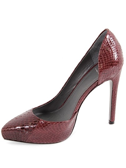Monika Chiang Pointed Toe Snakeskin Python Burgundy Pumps