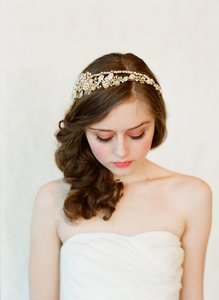 BHLDN Gold White Ivory Twigs Honey Double Band Golden Tiara Style #147 Hair Accessory