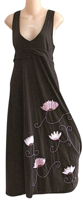 Item - Black L C Floral Lotus Flower Embroidered Applique Twisted Strap Anthropologe Long Casual Maxi Dress Size 12 (L)