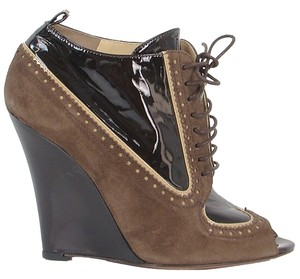 Moschino Perforated Peep Toe Wedge Patent Leather Brown Boots